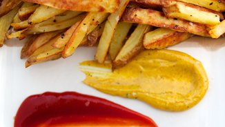 Olive Oil Roasted Fries with Curry Mayo & Spicy Ketchup