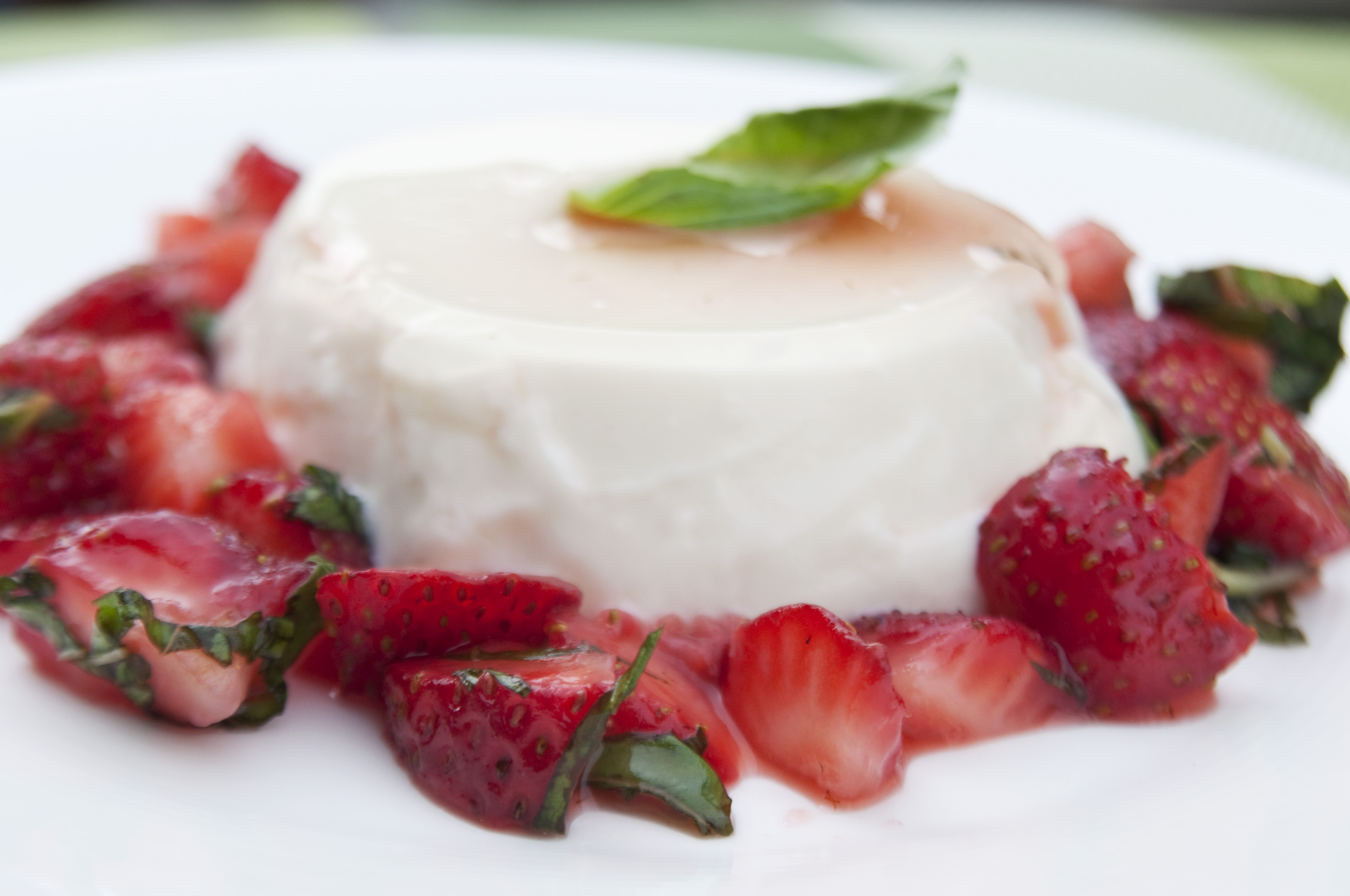 Lemon Basil Panna Cotta with Strawberries Recipe on Food52