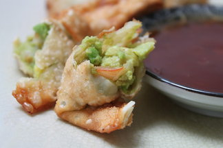 Shrimp and Avocado Rangoons with Grapefruit Sweet and Sour Dipping Sauce