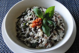 Basil and roasted peppers french lentils with rice