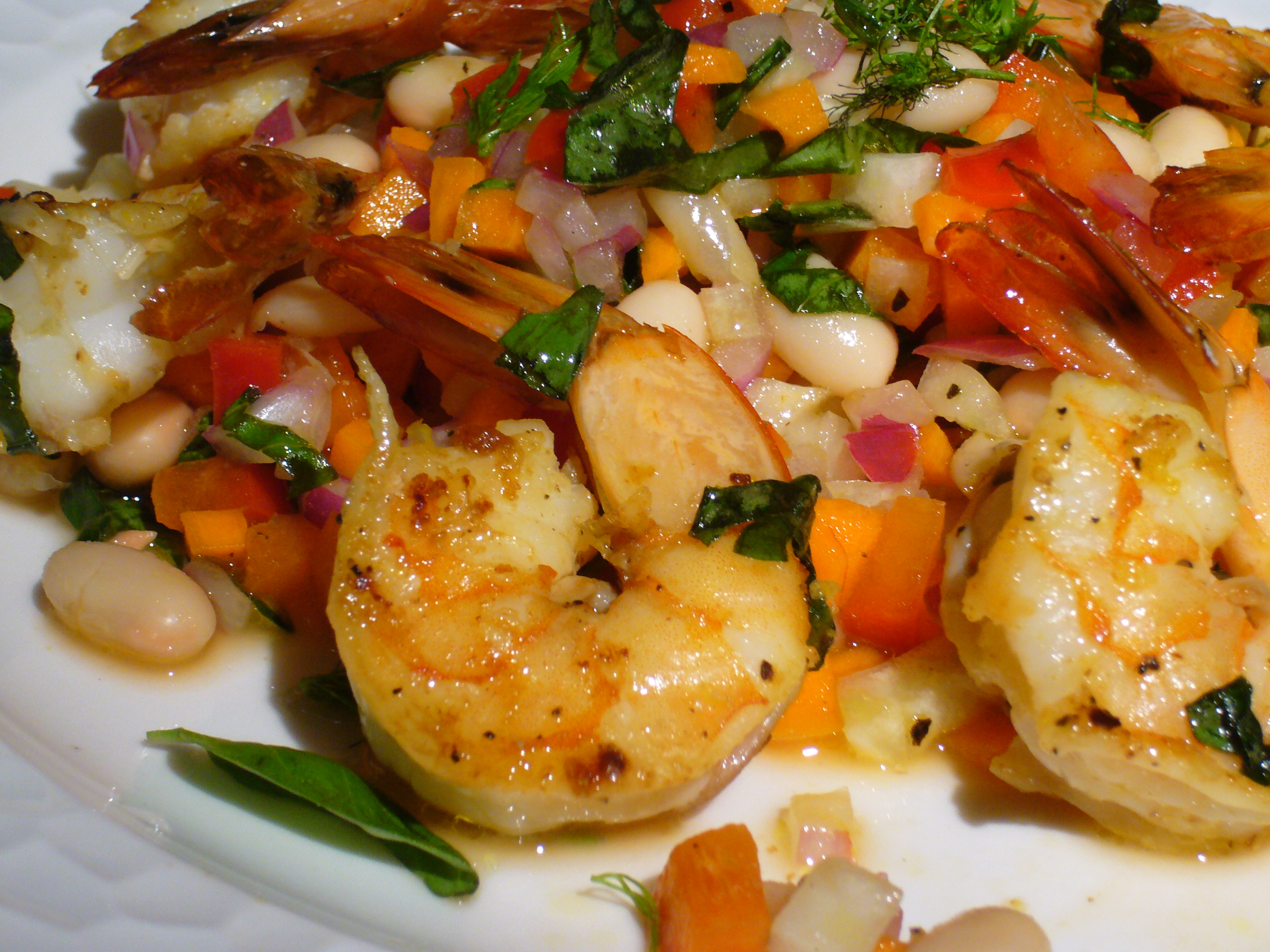 Pan-Seared Lemon-Basil Shrimp with White Bean Salad