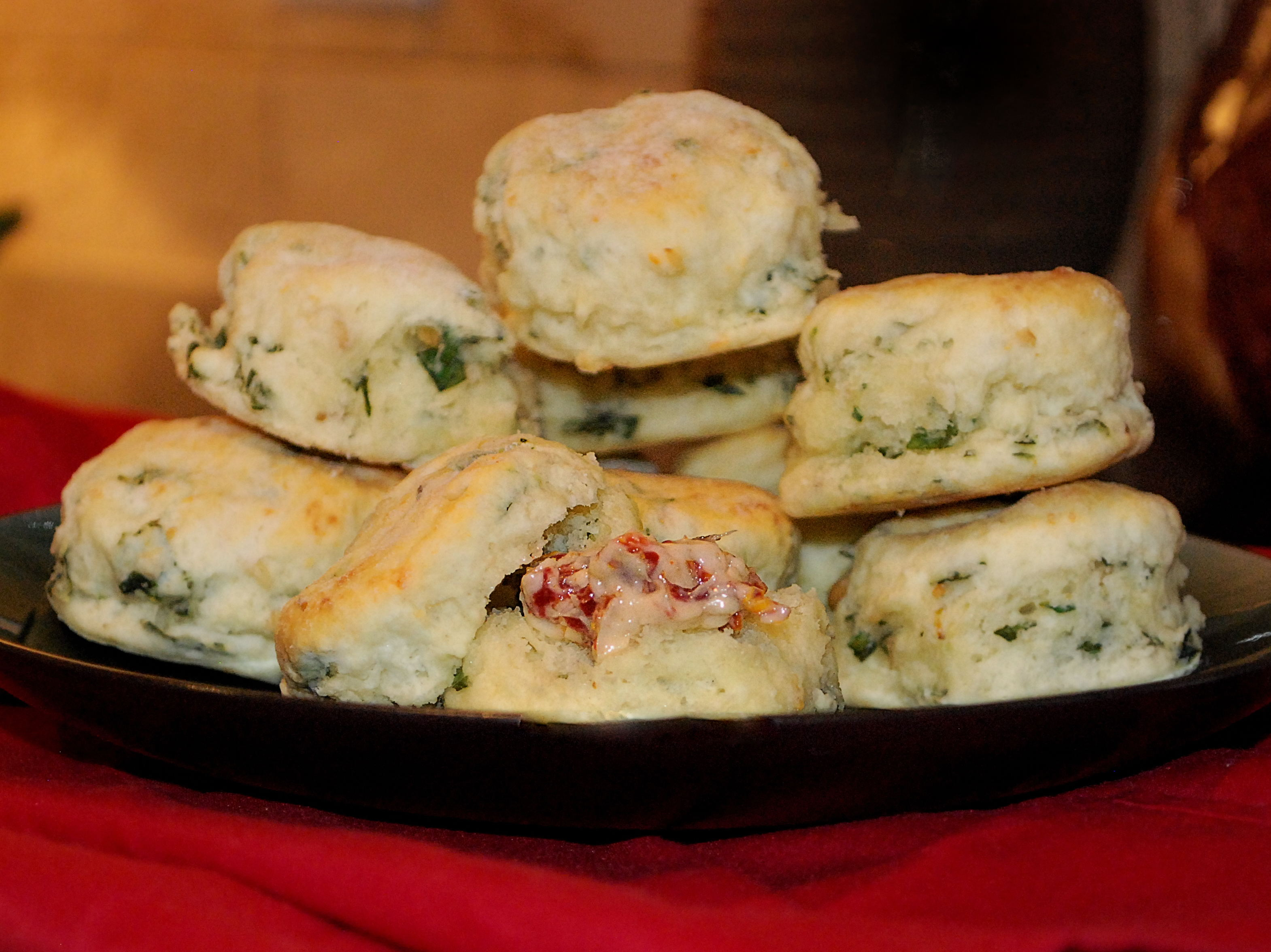 ... -Basil Tea Biscuits with Roasted Garlic and Sun-Dried Tomato Butter