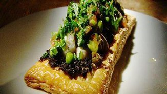 Swordfish on Puff Pastry with Tarragon Petite Peas