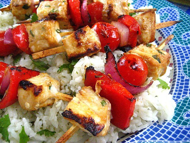 ... Citrus Marinated Swordfish Kabobs with Tomatoes, Onions and Peppers