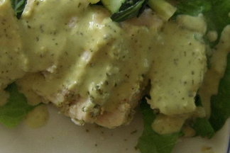 HOT Swordfish with COOL Coconut Avocado  Cream Sauce