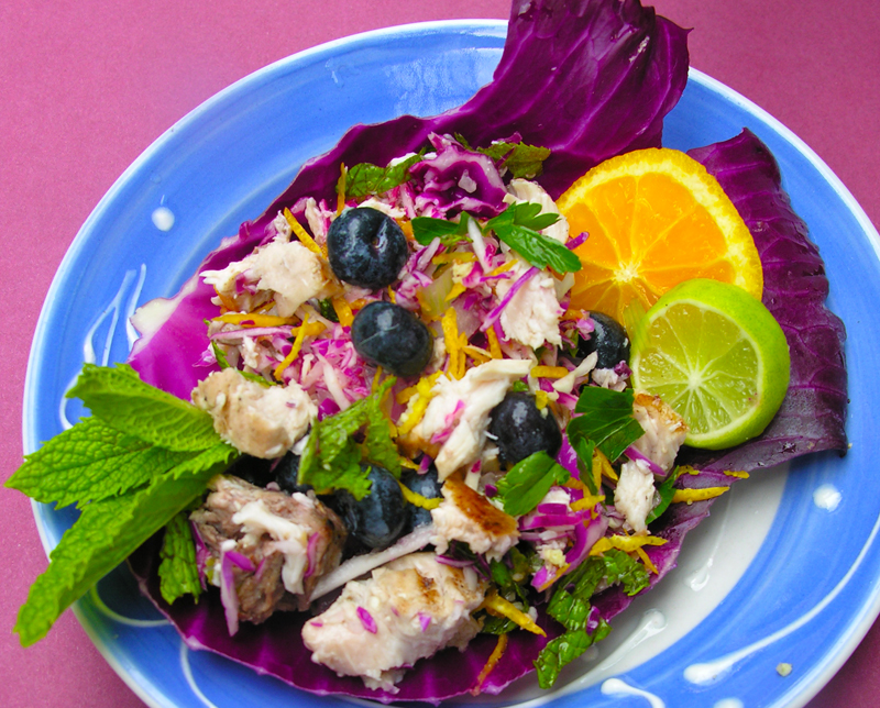 Chicken or Fish Salad with Toasted Almonds, Feta, Blueberries, Mint, and Orange Zest