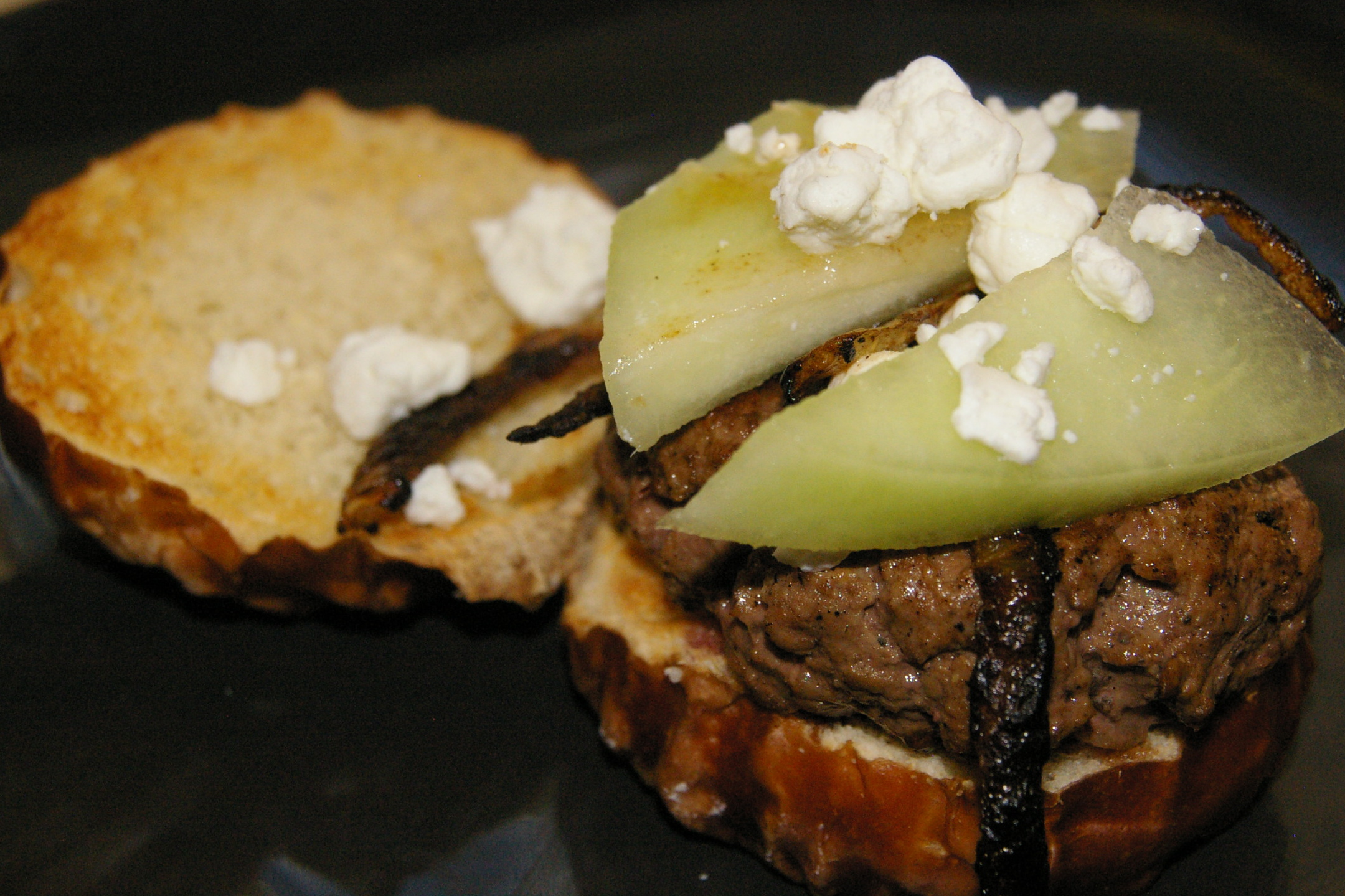 Vidalia Onion Burger with Honeydew Melon, Caramelized Onions and Goat Cheese