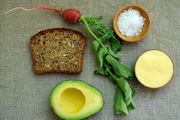 Tartine with Mustard Mayo and Mashed Avocado and Radishes with Butter and Salt on Food52