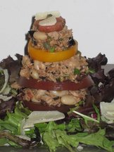 Heirloom Tomato and Mediterranean Tuna Salad Napoleons
