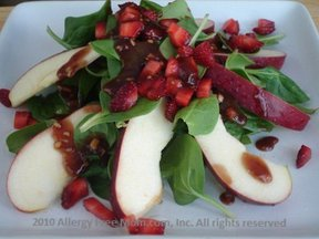 Baby Spinach with Apples and Strawberry-Ginger Glaze