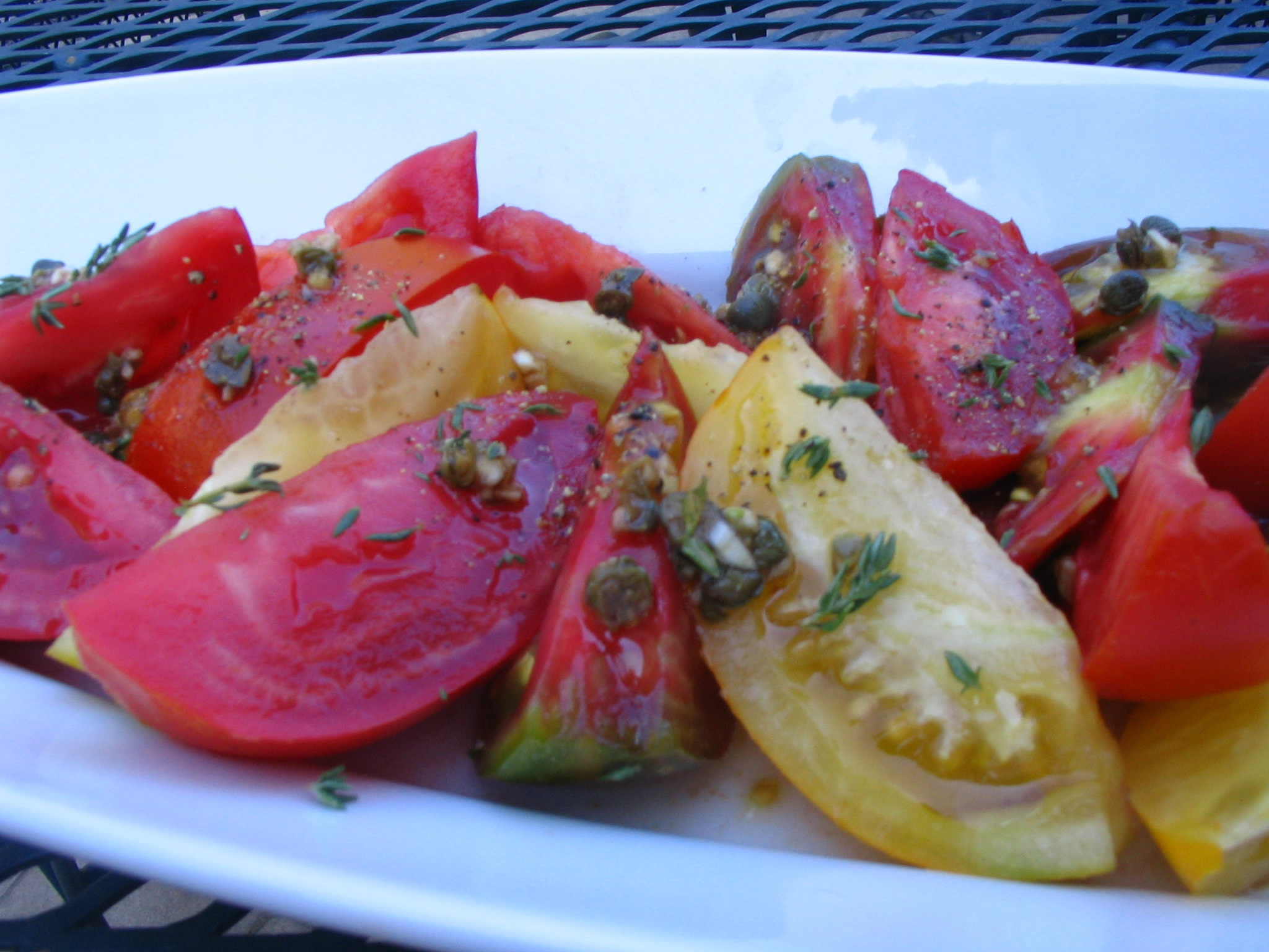 Heirloom Tomato Salad with Capers and Golden Balsamic Vinegar