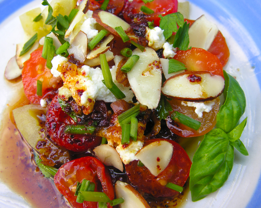 Making an heirloom tomato salad come even more alive...