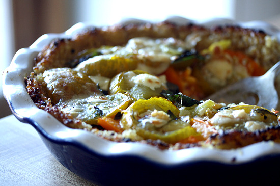 "Heirloom Tomato, Basil and Goat Cheese ""Pie"" (With a Rice, Millet, and Quinoa Crust)"