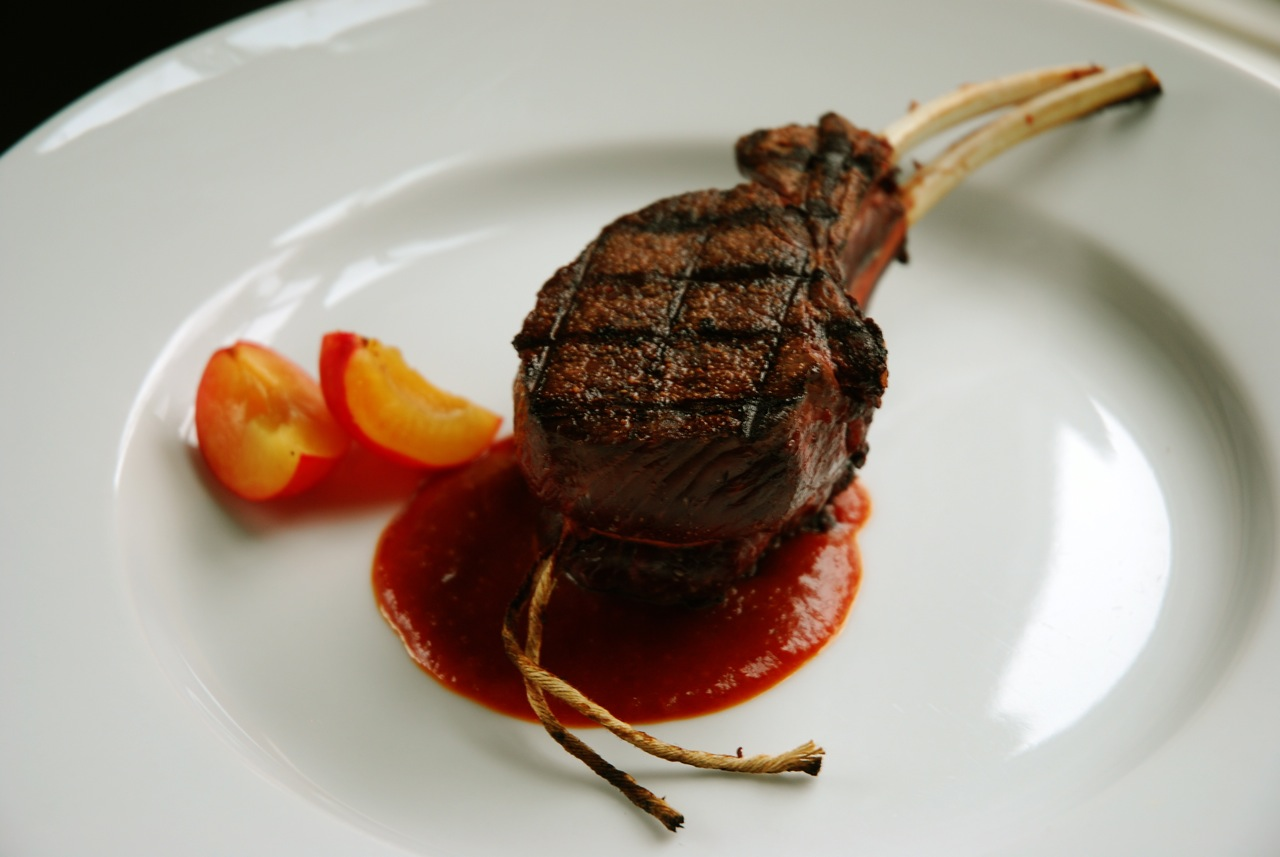 Double-Cut Wild Caught Venison Chops with Plum and Guajillo Chile BBQ Sauce