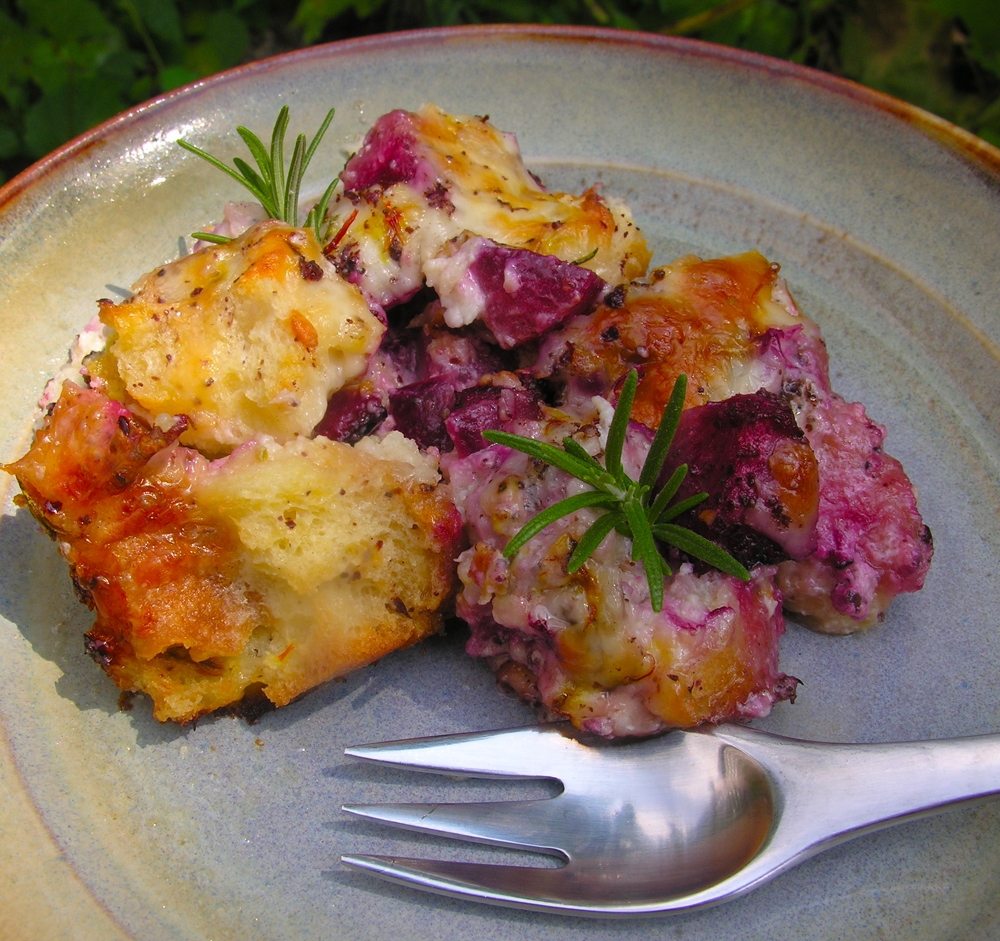 A Tuscan-inspired savory bread pudding