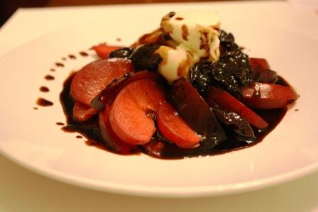Fresh Plums with Honeyed Mascarpone and Cherry Balsamic Reduction