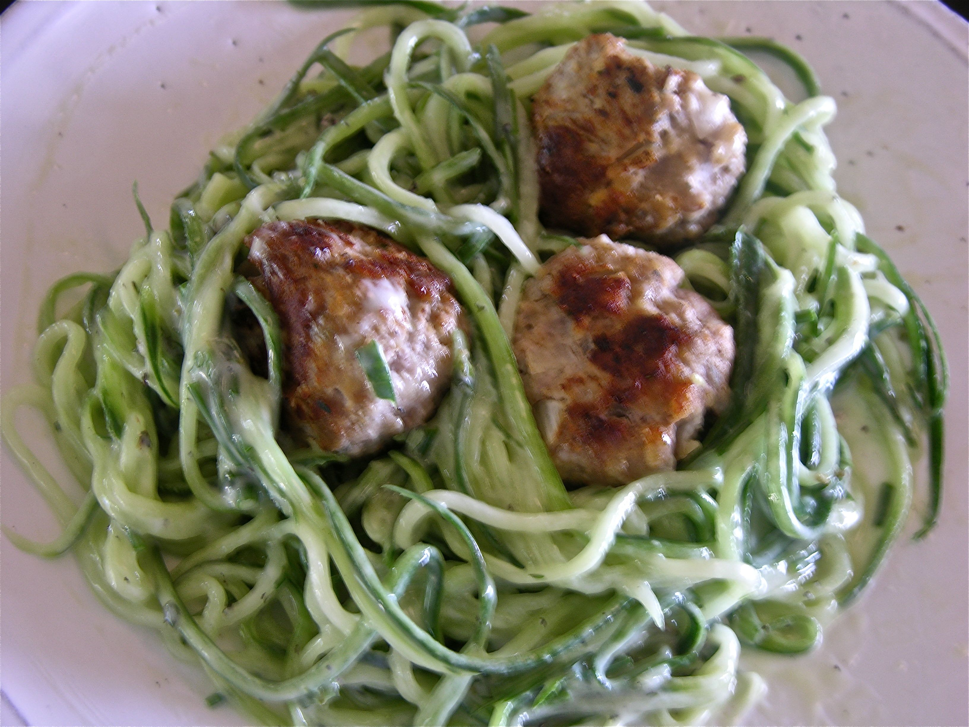 "MEATBALL SALAD with Cucumber ""Pasta"""