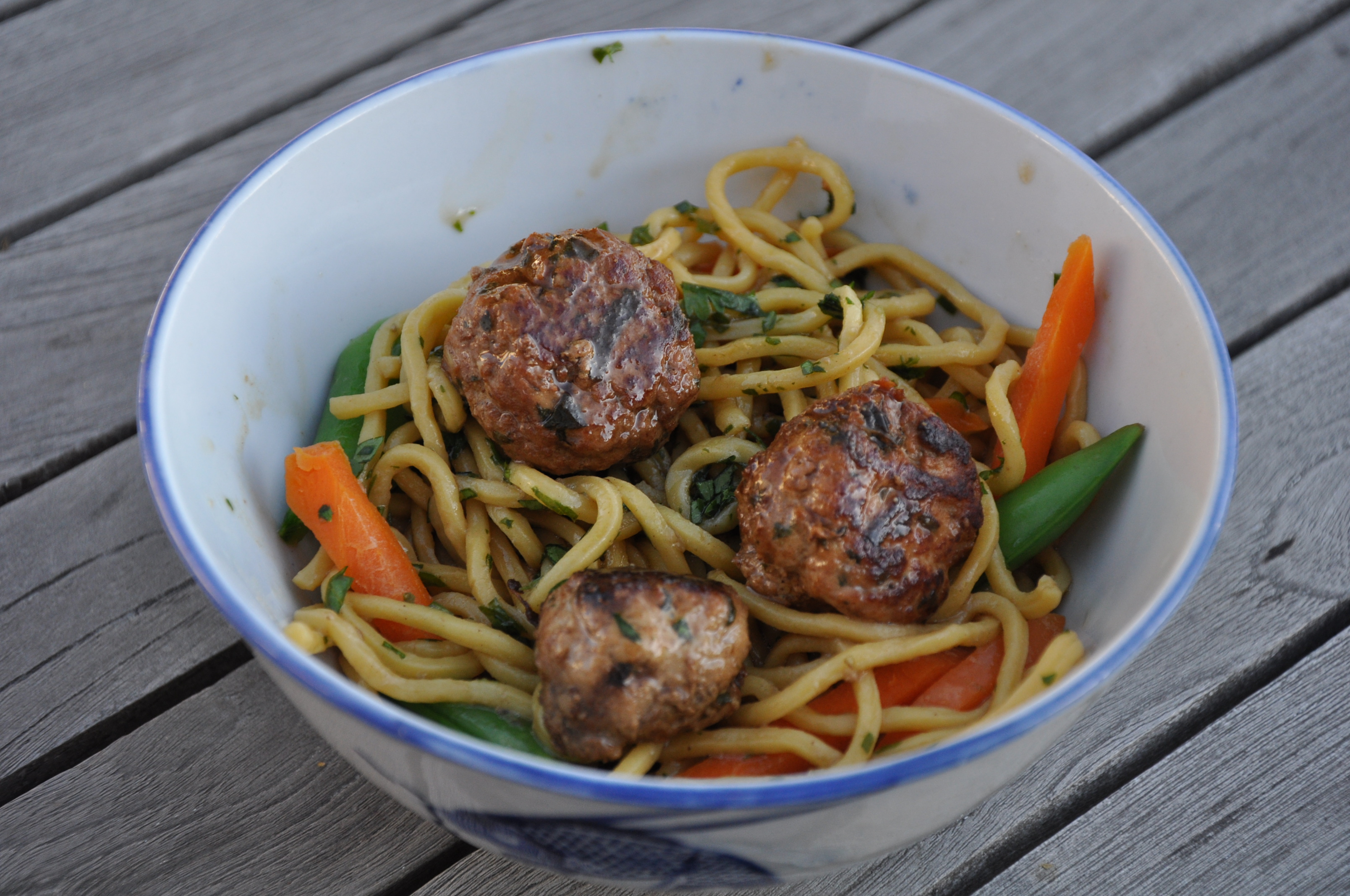 Meatballs with Chinese Celery over Noodles in Lemongrass Miso Sauce
