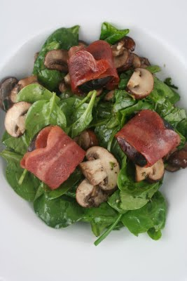 Spinach Salad with Bacon Wrapped Figs, Roasted Mushrooms, and Grilled Queso Blanco