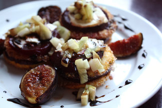 Roasted Beet and Summer Squash Salad with Figs, Chevre, Cucumber Relish and a Balsamic Reduction