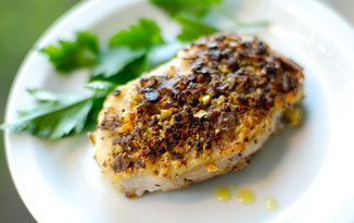 Pistachio and Blue Corn Tortilla Crusted Pork Chops