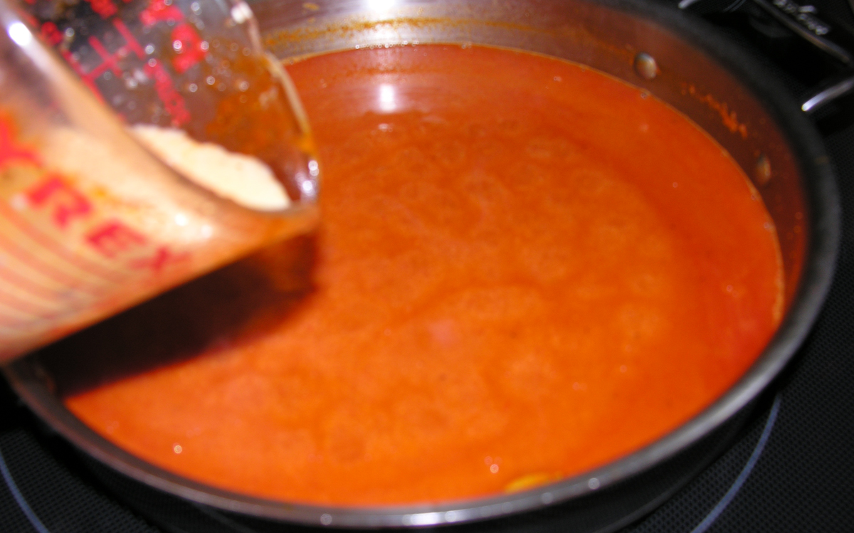 Fire roasted red pepper semolina soup