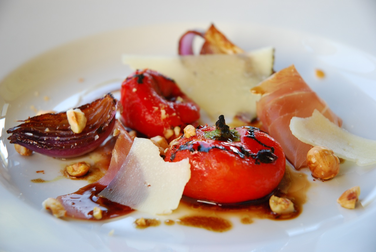 Roasted Red Pimento Peppers with Hazlenuts, Prosciutto and Campo D Montal