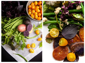 Mizuna & Haricot Vert Salad with Crispy Potatoes, Purple Basil, Cherry Tomatoes & Stilton