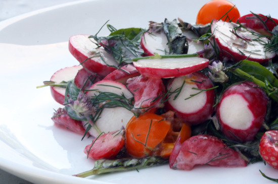 Radish and Herb Salad with Sungold Tomatoes and Strawberries