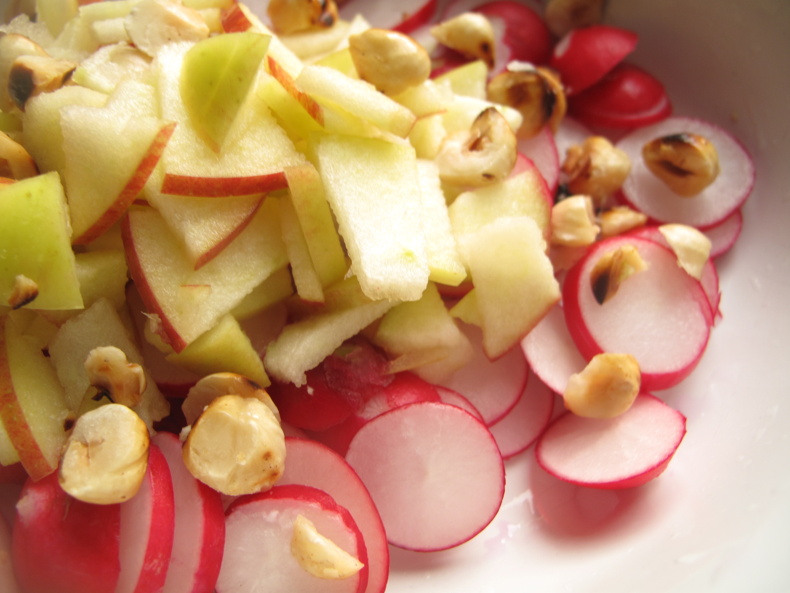 Radish Apple salad with toasted hazelnuts