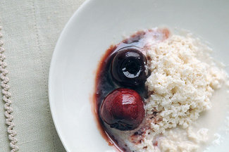 Almond Ice with Glazed Cherries