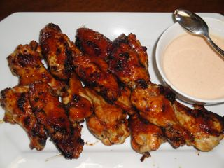 Asian Lacquered Wings with a Honey Sriracha Yogurt Dipping Sauce