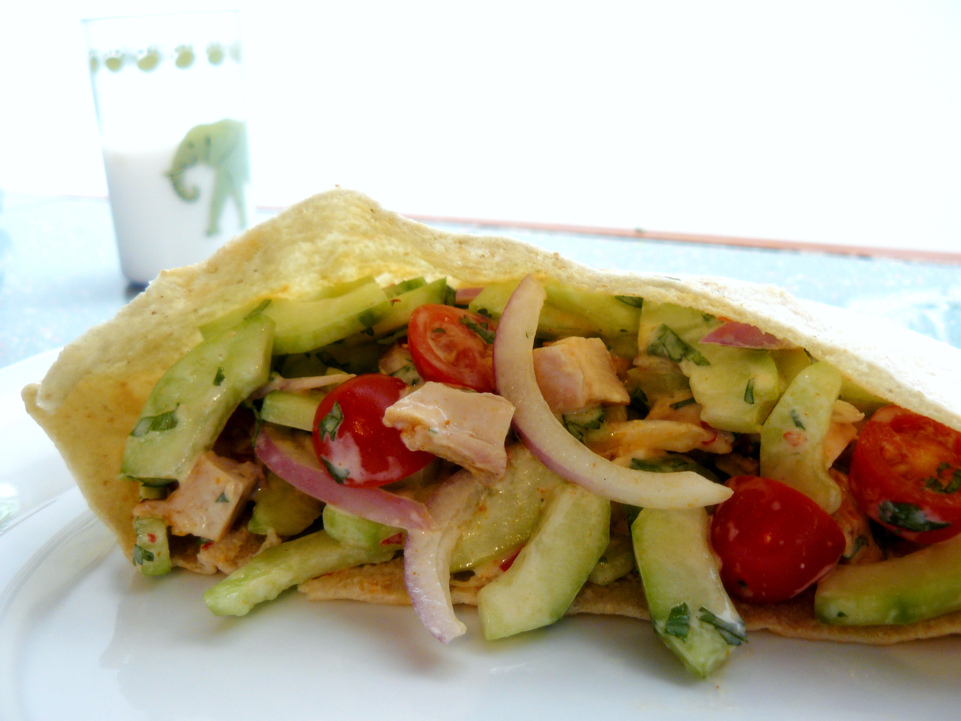 Grilled Chicken and Harrisa-Yogurt Salad Pita Pocket