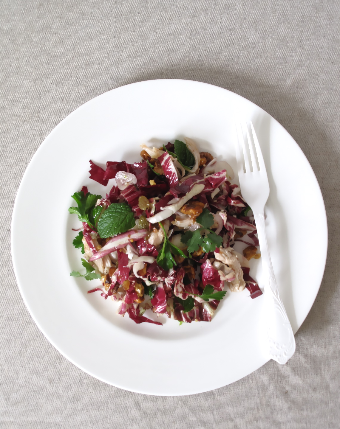 Chicken and Radicchio Salad  with Pickled Raisins + Walnuts