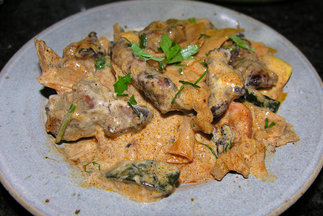 Cauliflower, mushroom and beef stroganoff with honey bourbon