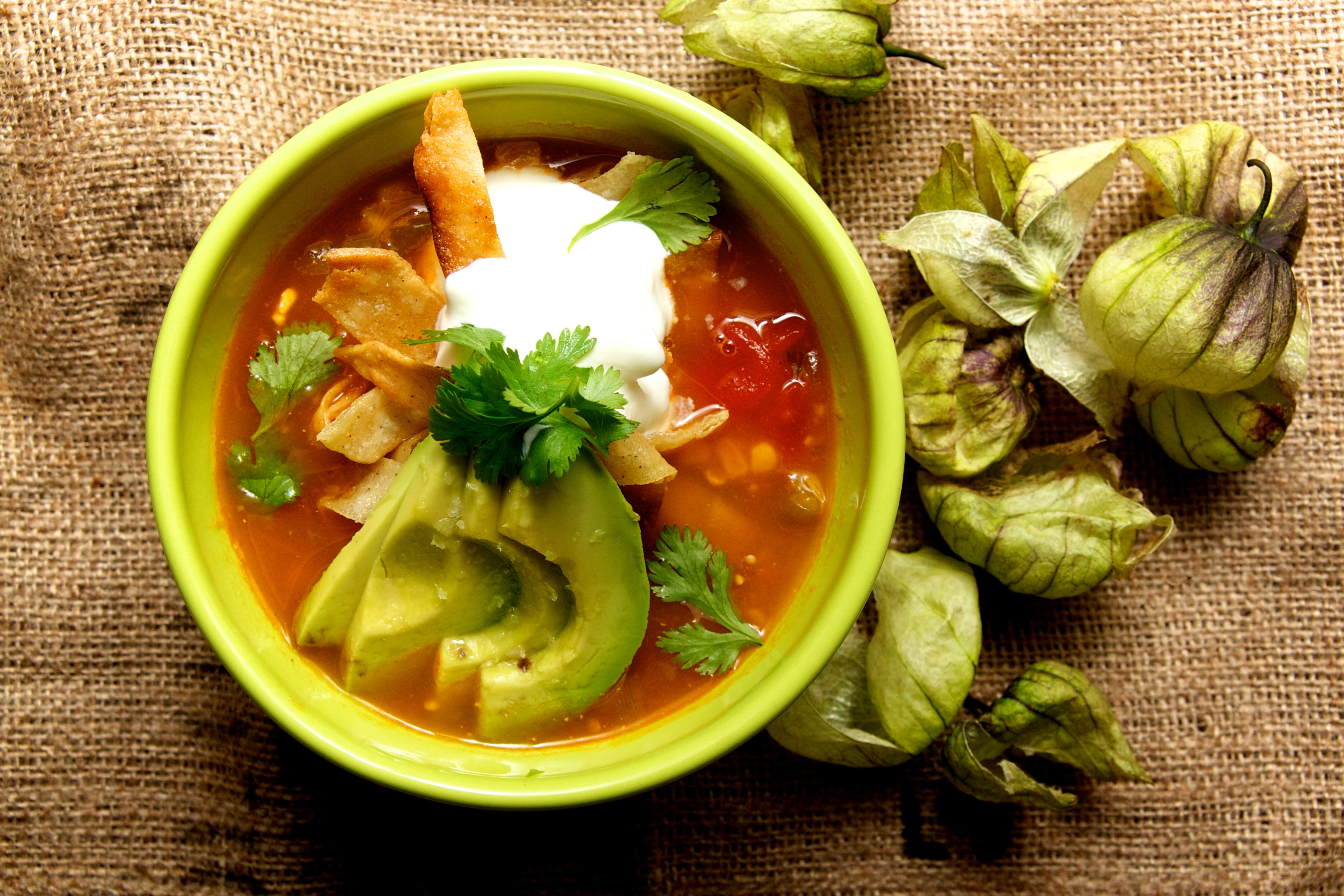 Tomatillo Soup with Avocado and Lime