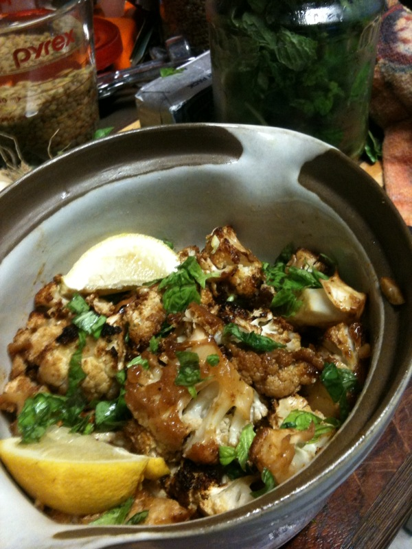 Chipotle-Honey Roast Cauliflower with Basil