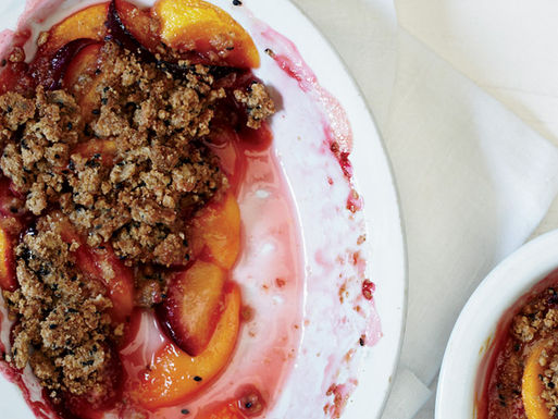Peaches-and-plums-with-sesame-crumble