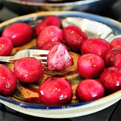 Bourbon-glazed-radishes
