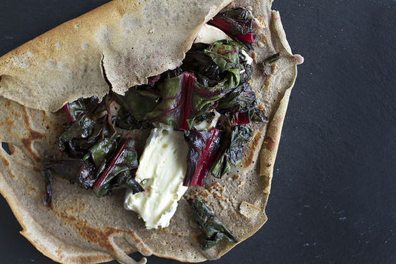 Buckwheat Crepes with Brie + Honey Sauteed Swiss Chard