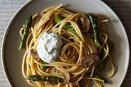 Lemony Asparagus Pasta with Mushrooms and Herbed Ricotta