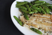 Butter-Seared Sole with Snap Peas, Dill + Capers
