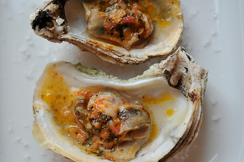 Grilled (or Broiled) Oysters with a Sriracha Lime Butter