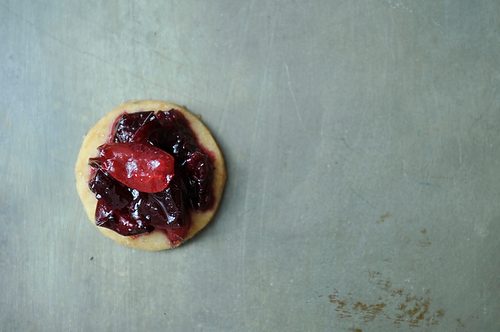 lemon pepper shortbread with cherry jam 