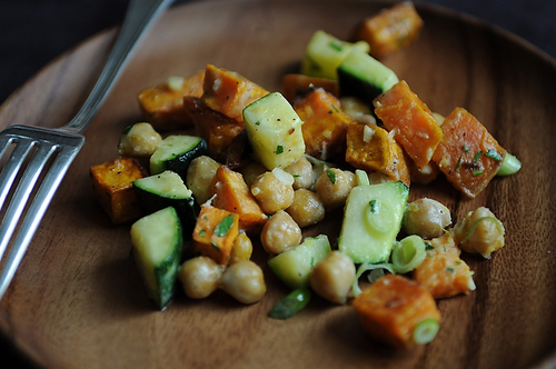 yam, zucchini, chickpea salad