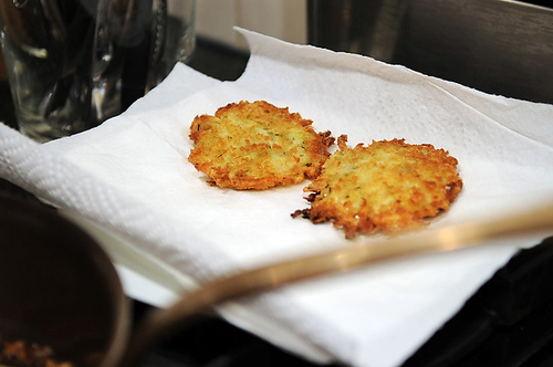 Golden Panko Latkes with Sour Cream and Chives