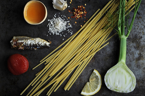Linguine with Sardines, Fennel & Tomato
