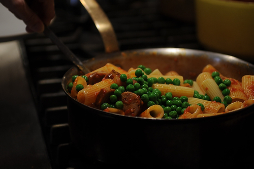 Rigatoni with Sausage, Peas and Fresh Ricotta