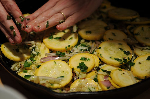 Summer Squash Gratin with Salsa Verde and Gruyere