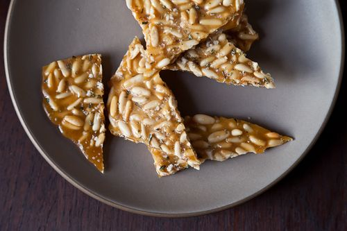 Pine Nut Brittle with Rosemary